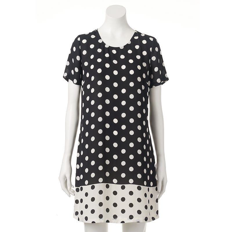 Women's Black Rainn Polka-Dot Shift Dress