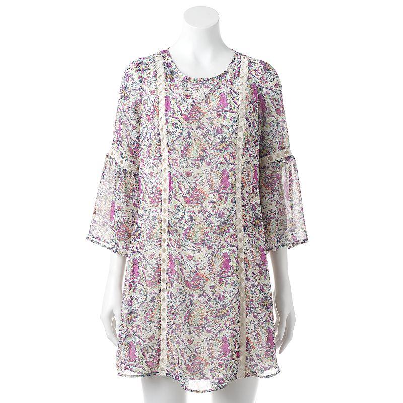 Women's Black Rainn Floral Crochet Shift Dress