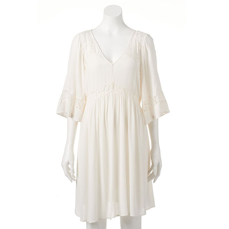 Women's Black Rainn Crinkle Lace Shift Dress