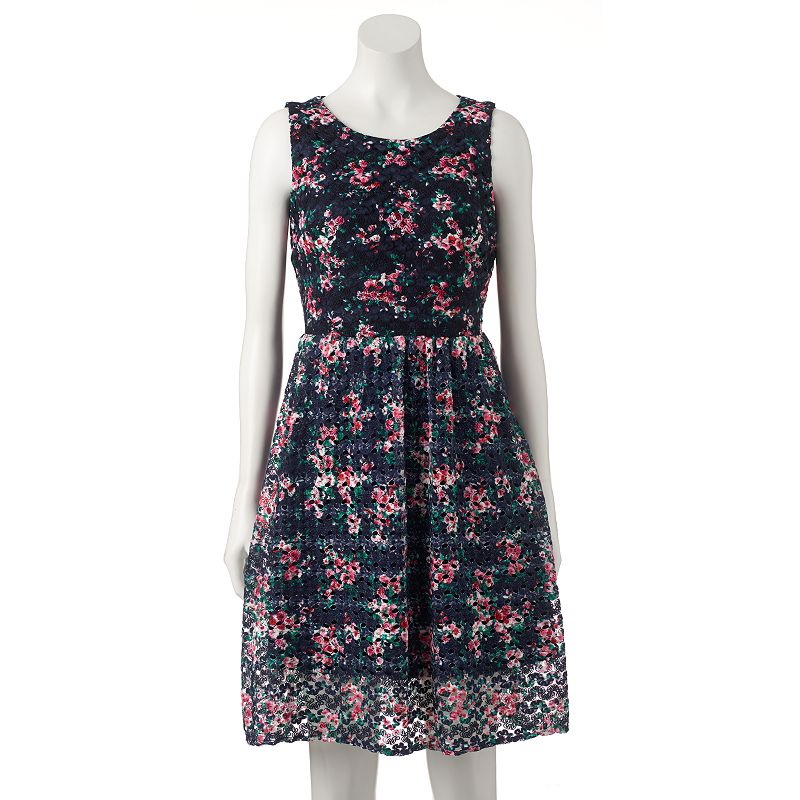Women's M by Maia Print Lace Fit & Flare Dress