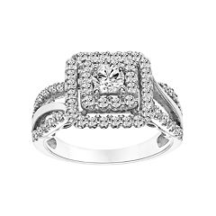Simply Vera Vera Wang 14k White Gold 1 Carat T.W. Certified Diamond Square Halo Engagement Ring by
