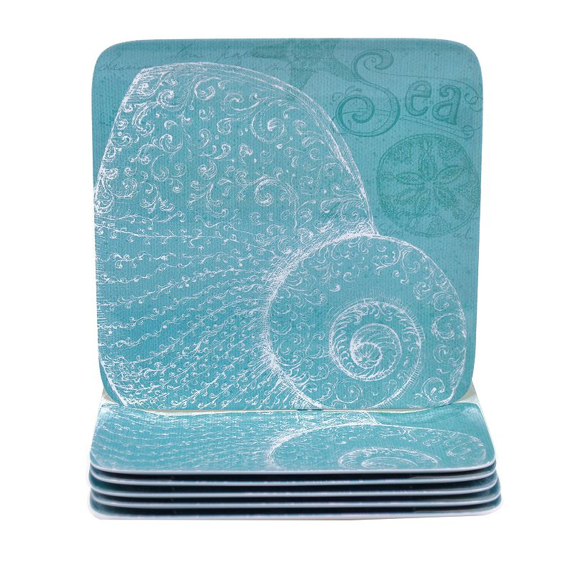 Certified International Aqua Treasures 6-pc. Square Dinner Plate Set