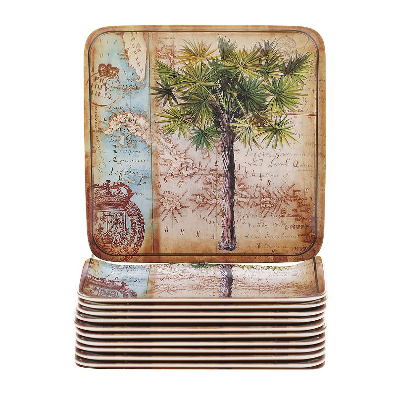 Certified International Antique Palms 12-pc. Canape Plate Set