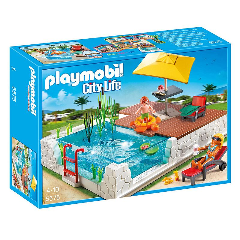 Playmobil Swimming Pool with Terrace Playset - 5575