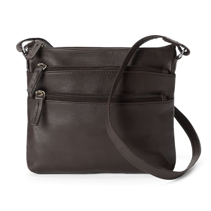 R&R Leather 3-Zip Leather Crossbody Bag