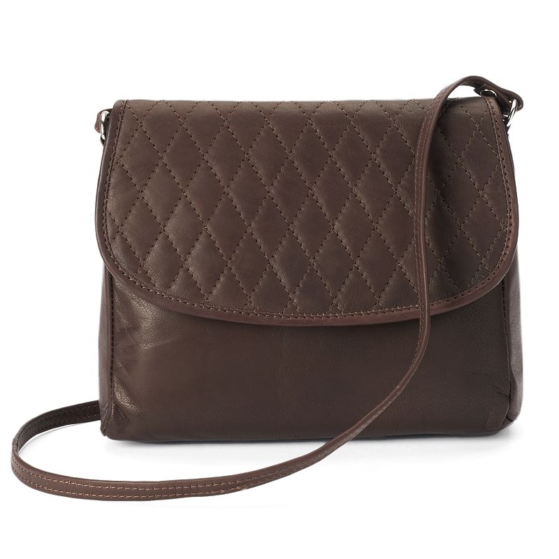 R&R Leather Quilted Flap Leather Crossbody Bag