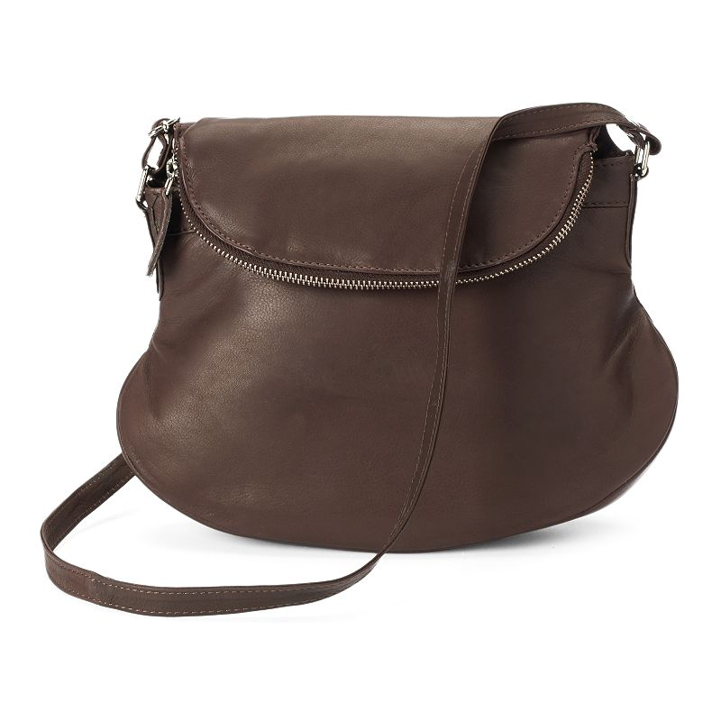 R&R Leather Gusseted Leather Crossbody Bag