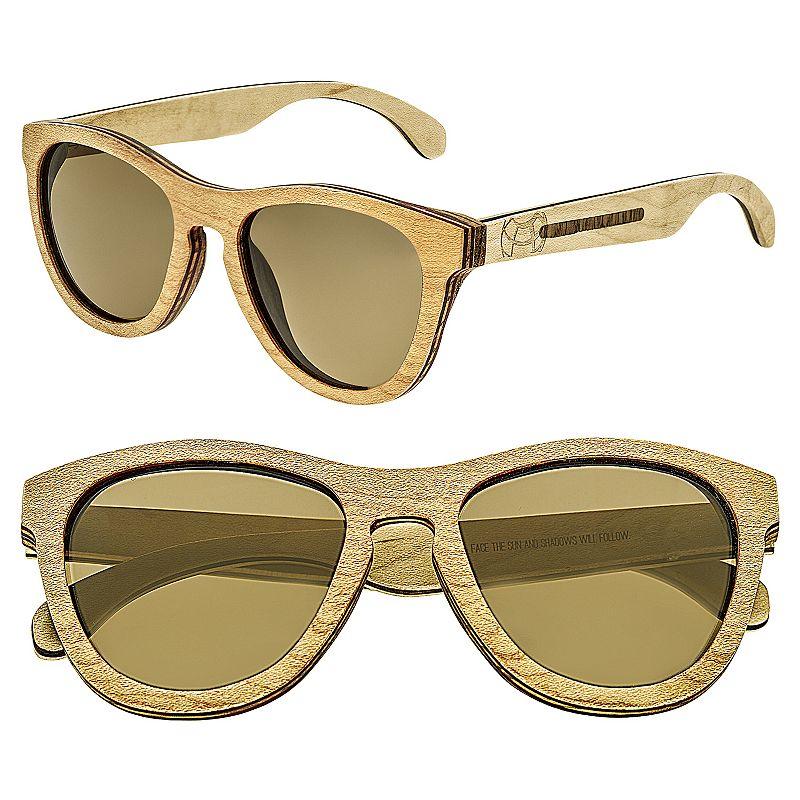 Earth Wood Del Carmen Wooden Retro Round Unisex Sunglasses