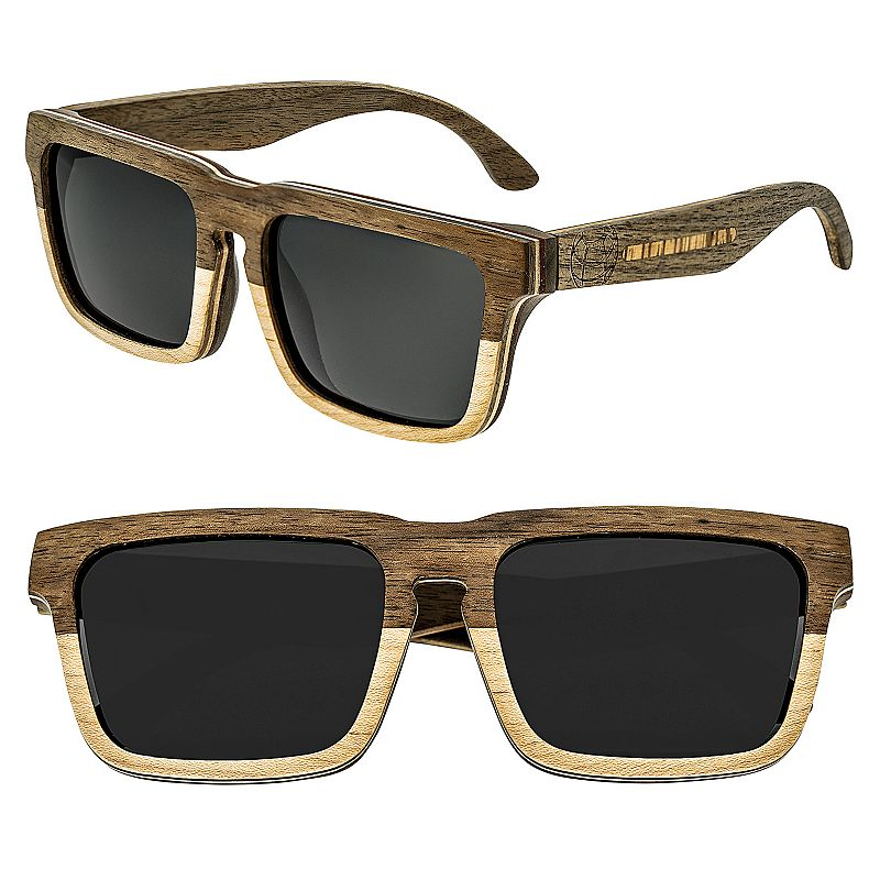 Earth Wood Pensacola Wooden Rectangular Unisex Sunglasses