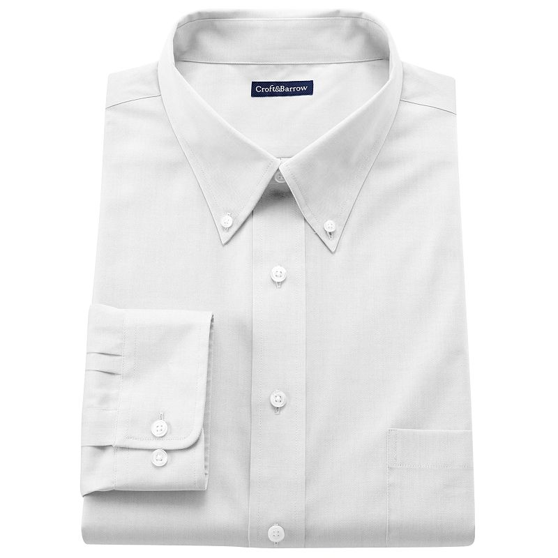 Men's Croft & Barrow® Fitted Solid Easy-Care Button-Down Collar Dress Shirt