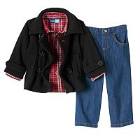 Toddler Boy Great Guy Double-Breasted Fleece Jacket, Plaid Shirt & Jeans Set