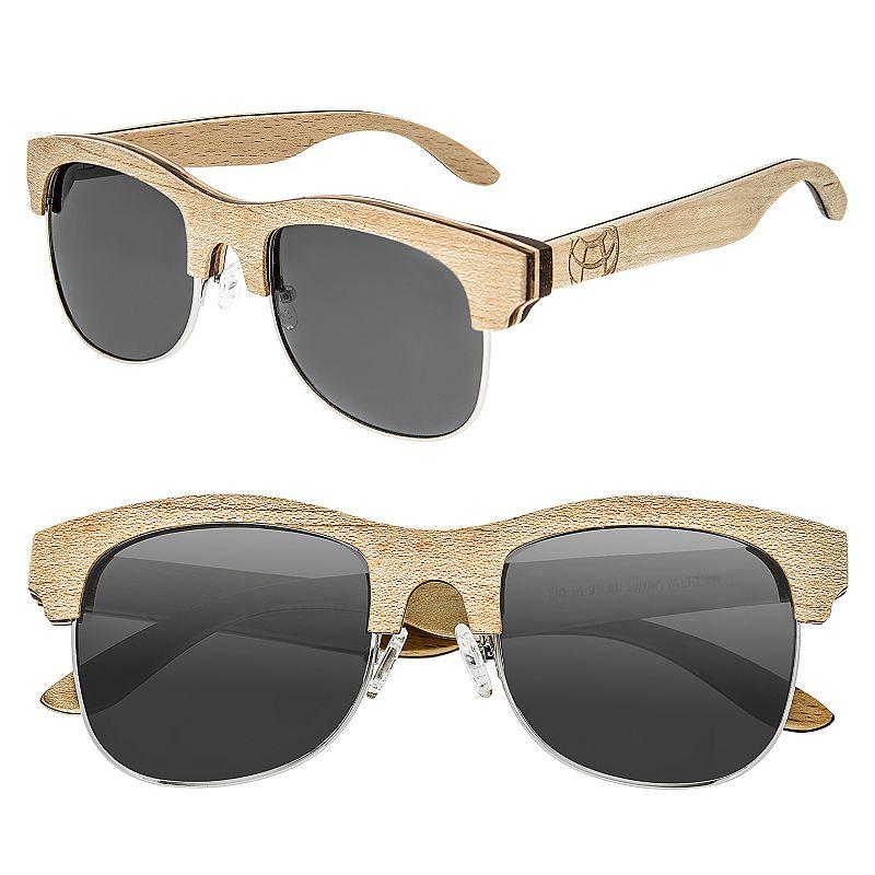 Earth Wood Dade Wooden Retro Unisex Square Sunglasses