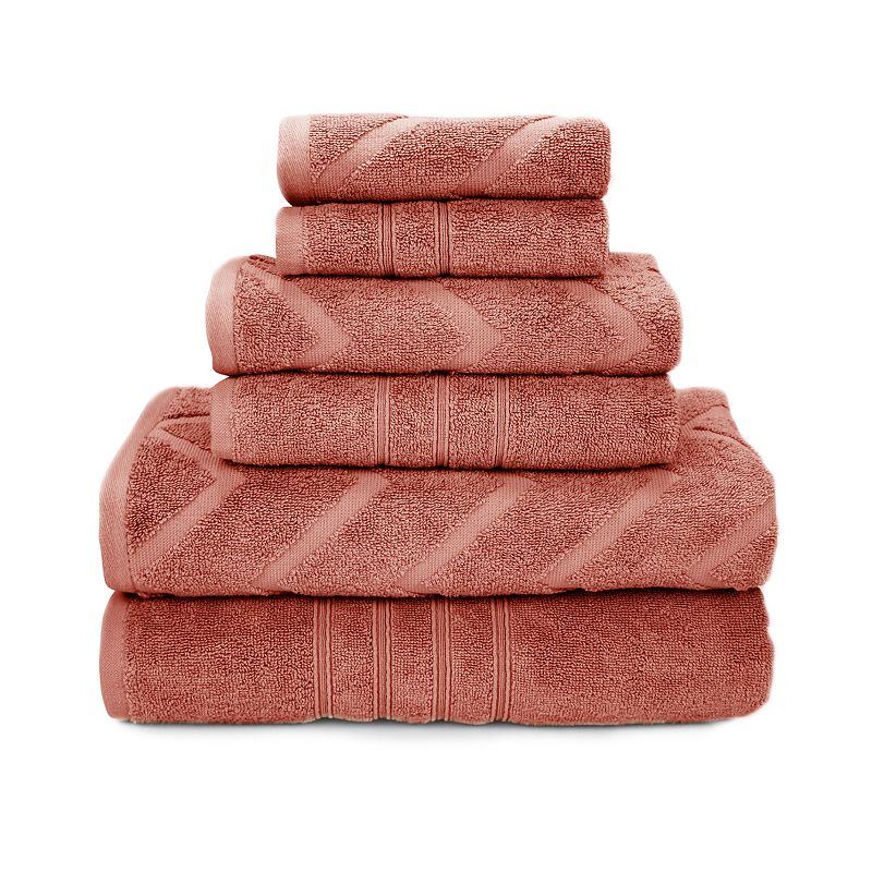 Pacific Coast Textiles 6-piece Chevron Jacquard & Solid Mix & Match Towel Set