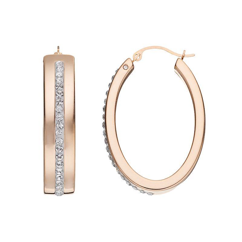 GOLD LUXE Crystal 14k Gold Oval Hoop Earrings