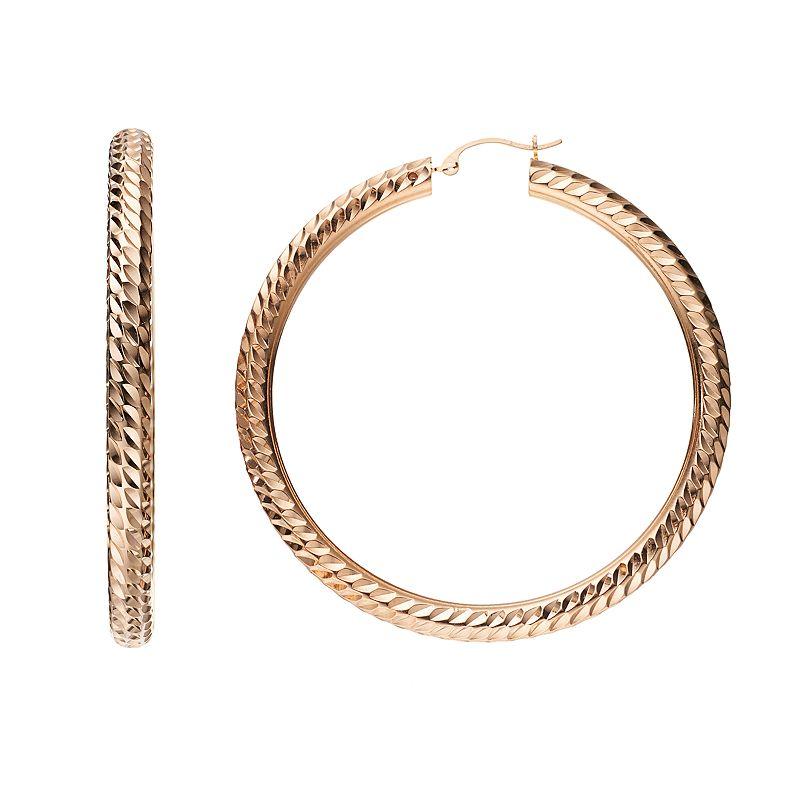 GOLD LUXE 14k Gold Textured Hoop Earrings