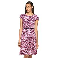 Women's Jessica Howard Print Belted Fit & Flare Dress