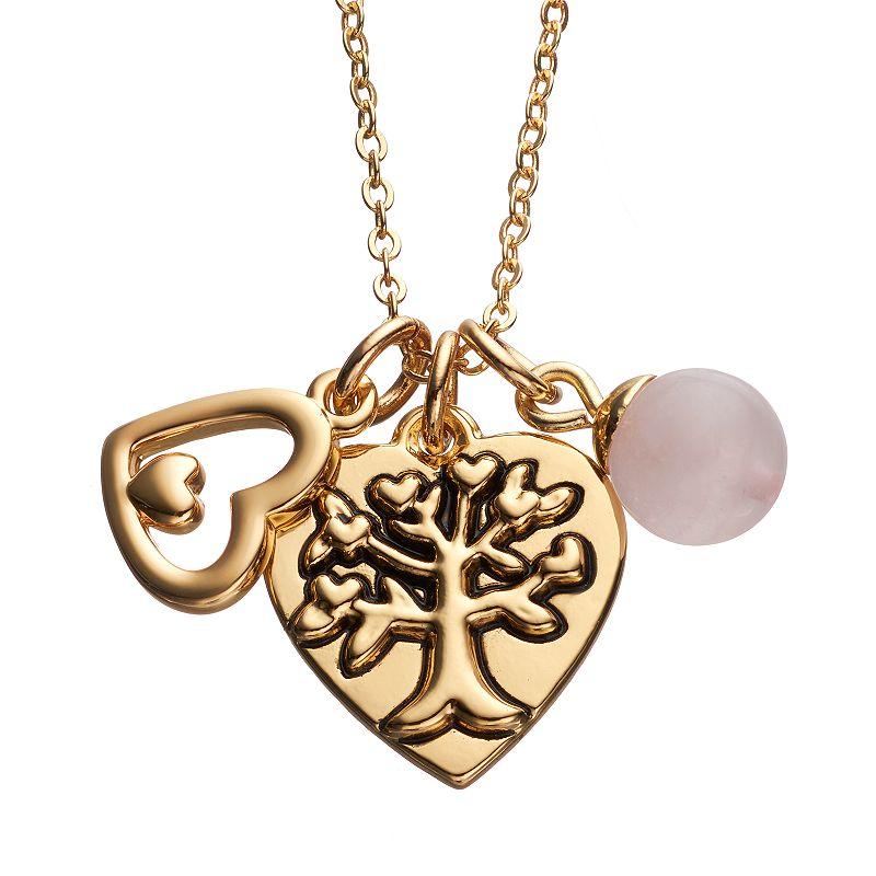 love this life Rose Quartz Family Tree & Heart Pendant Necklace