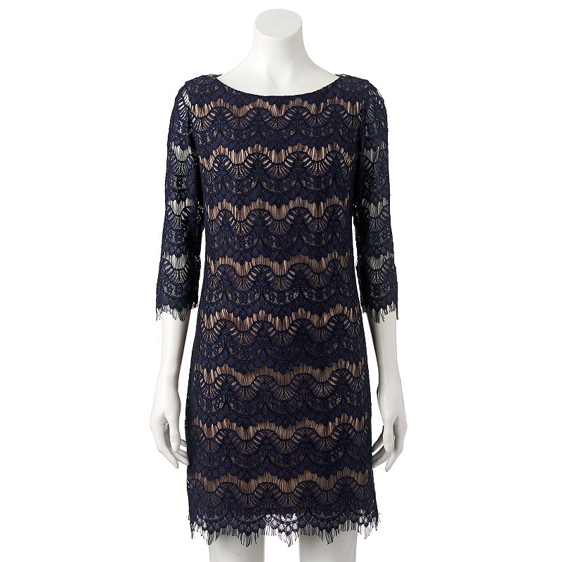 Women's Jessica Howard Fringe Lace Shift Dress