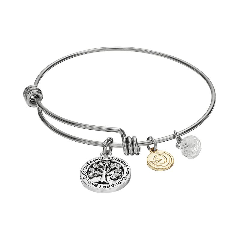 love this life Crystal Family Tree Charm Bangle Bracelet