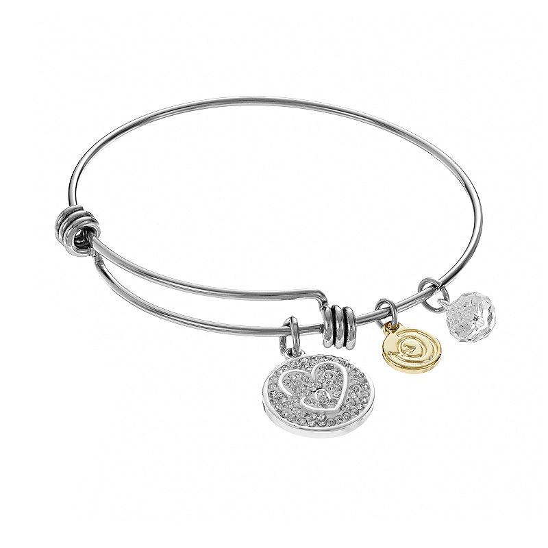 love this life Crystal ''Daughter'' Heart Charm Bangle Bracelet