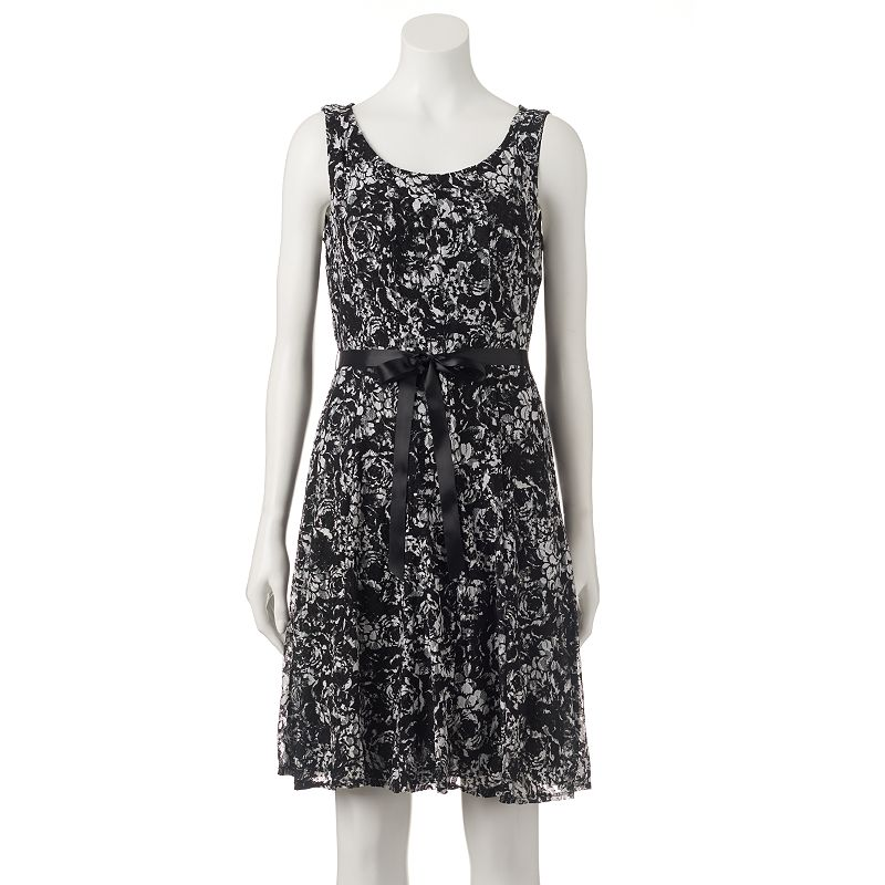 Women's Perceptions Abstract Lace Fit & Flare Dress