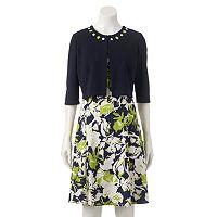 Women's Perceptions Floral Dress & Jacket Set