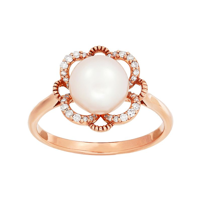 10k Rose Gold Freshwater Cultured Pearl & 1/10 Carat T.W. Diamond Flower Ring