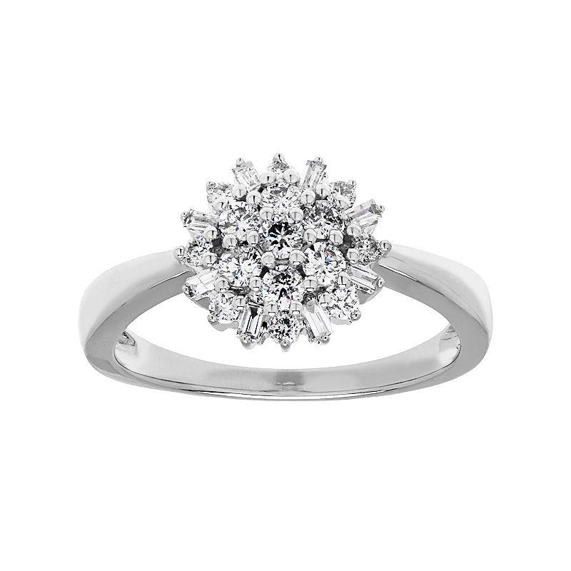 10k White Gold 1/2 Carat T.W. Diamond Starburst Ring
