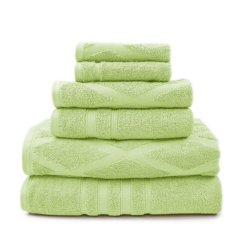 Pacific Coast Textiles 6-piece Diamond Jacquard & Solid Mix & Match Bath Towel Set