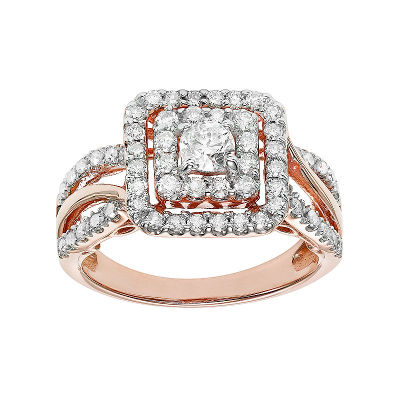 Simply Vera Vera Wang 14k Rose Gold 1 Carat T.W. Certified Diamond Square Halo Engagement Ring