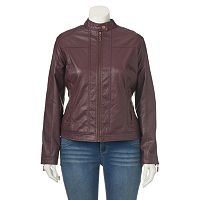 Juniors' Plus Size J-2 Zipper Faux-Leather Jacket