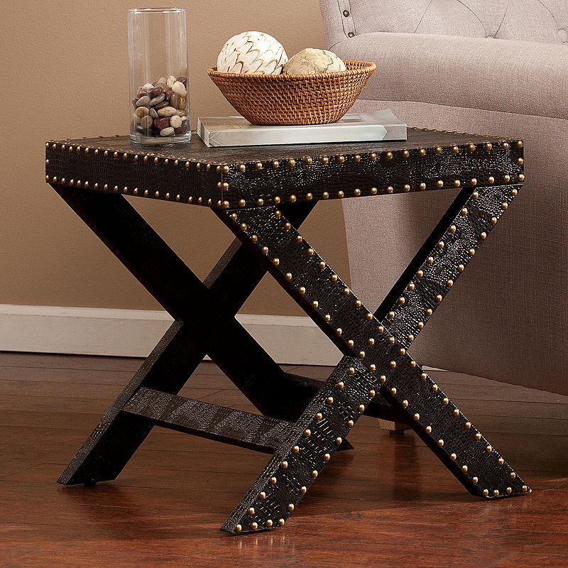 Faux Reptile Nailhead Accent End Table
