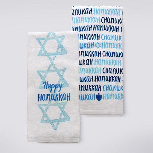 """St. Nicholas Square® """"Happy Hanukkah"""" Kitchen Towel 2-pk."""