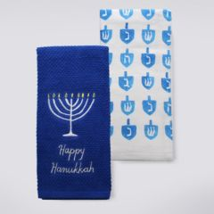 "St. Nicholas Square® ""Happy Hanukkah"" Candlelight Kitchen Towel 2-pk."