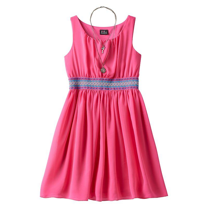 Girls 7-16 & Plus Size lilt Embroidered Shirred Skater Dress