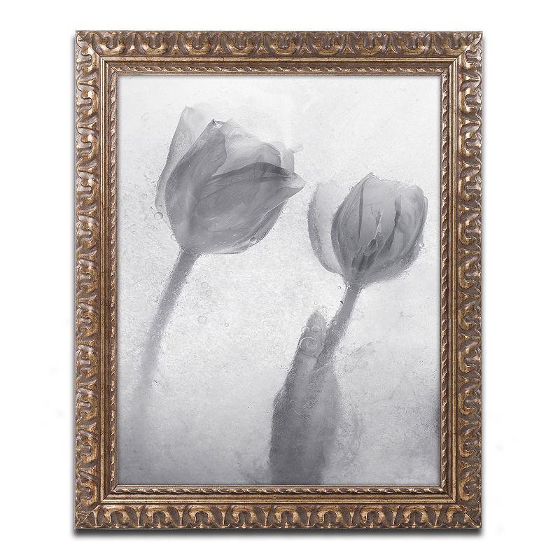 Trademark Fine Art Flowers on Ice-1 Ornate Framed Wall Art