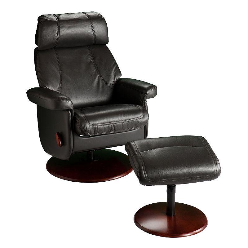 swivel glider rocker recliner chair amp ottoman 2 piece set black