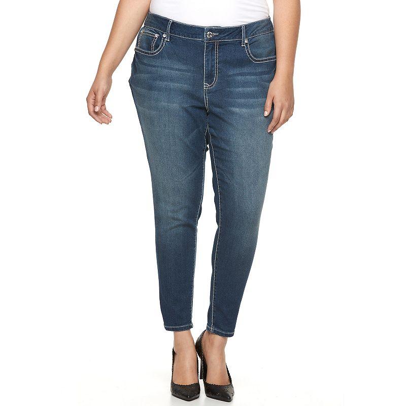 Plus Size Apt. 9® Embellished Skinny Ankle Jeans