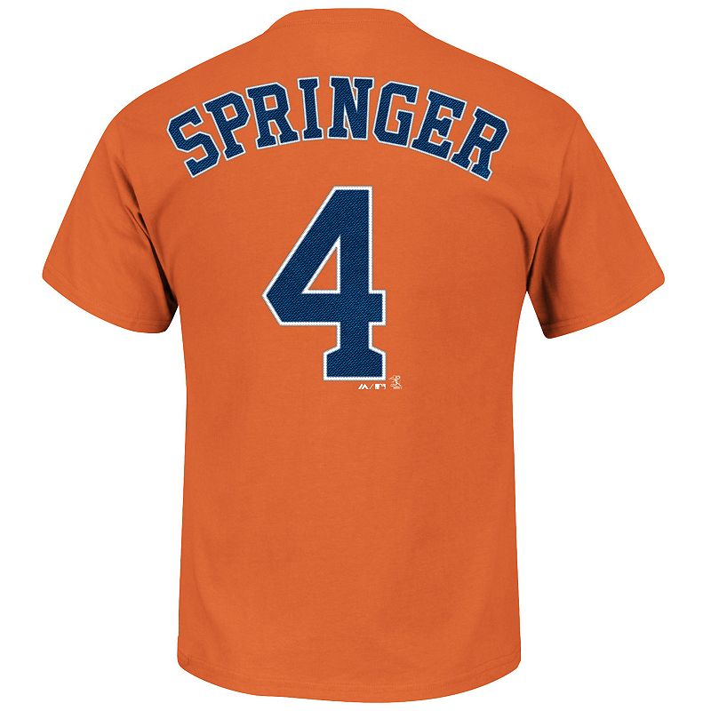 Men's Majestic Houston Astros George Springer Player Name and Number Tee