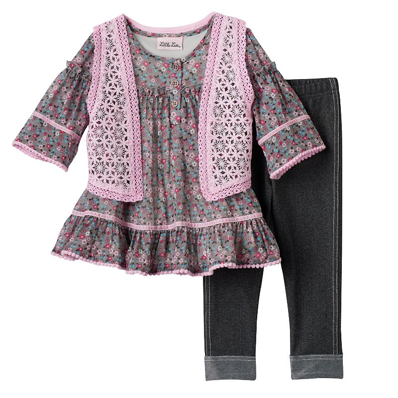 Baby Girl Little Lass Floral Chiffon Tunic & Leggings Set