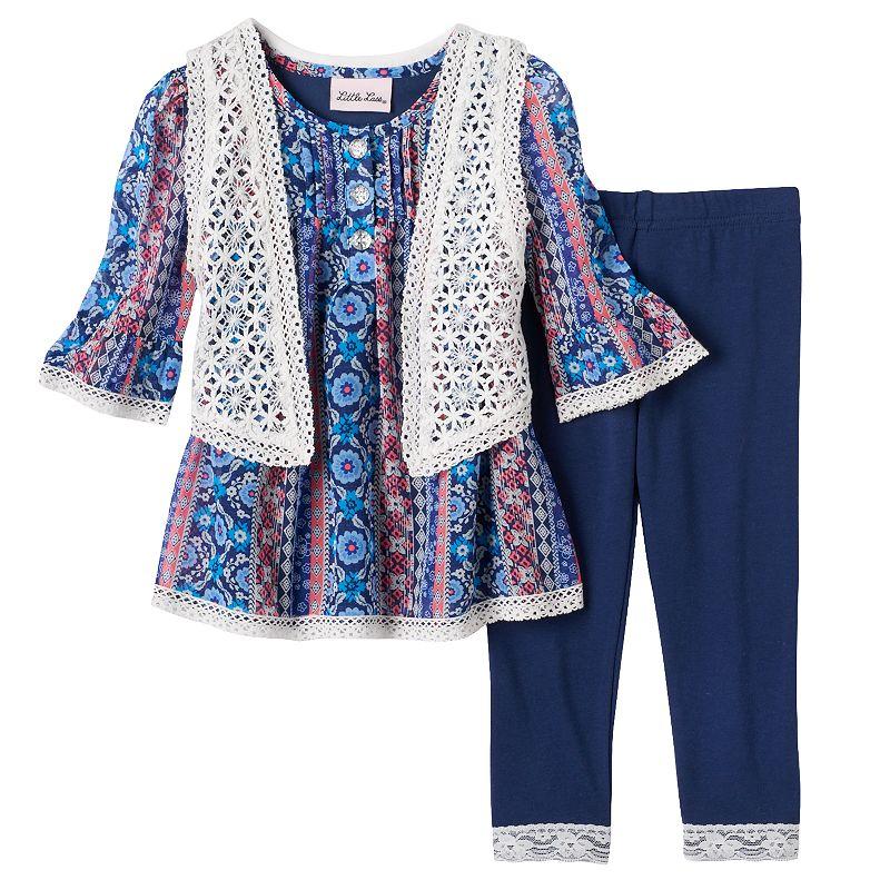 Baby Girl Little Lass Crochet Vest, Floral Tunic & Leggings Set