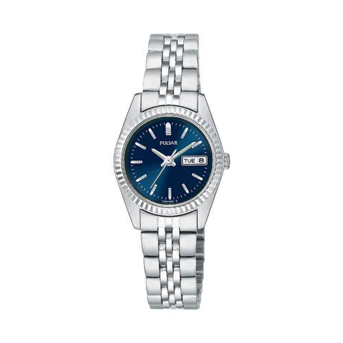 Pulsar Silver Tone Blue Dial Dress Watch - Women