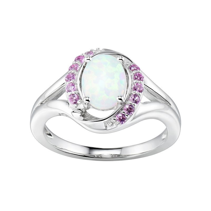 Sterling Silver Lab-Created White Opal & Pink Sapphire Halo Ring