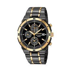 Seiko Men's Two Tone Stainless Steel Chronograph Watch SNAA30