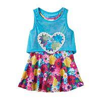 Toddler Girl Nannette Flower Dress & Detachable Slubbed Tank Top Popover Set