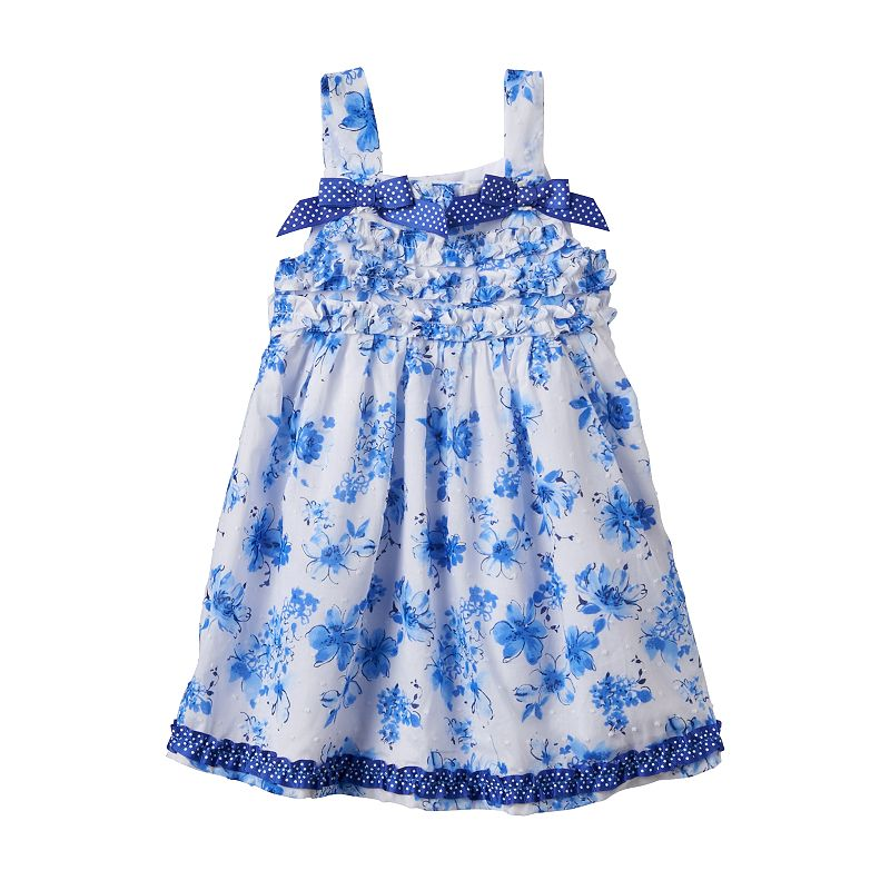 Toddler Girl Nannette Ruffled Blue Flower Woven Dress