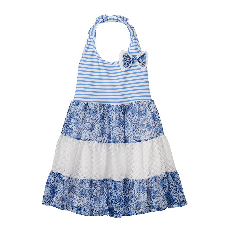 Toddler Girl Nannette Halter Mixed-Pattern Stripe Dress