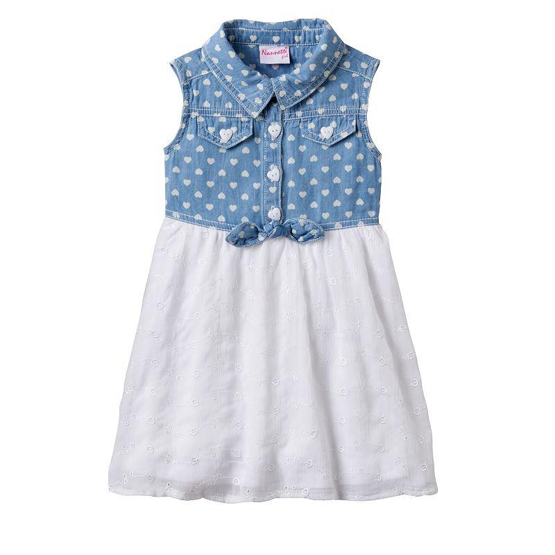 Toddler Girl Nannette Heart Print Chambray Woven Dress