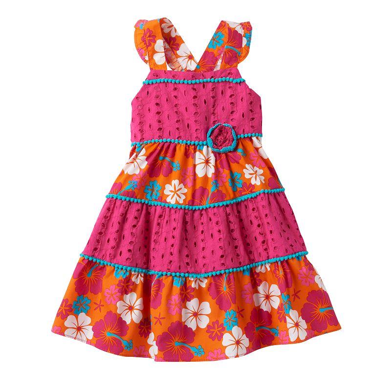 Toddler Girl Nannette Tropical Flower Eyelet Convertible Strap Dress