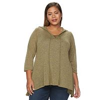 Plus Size Loramendi Marled Lace-Up Hooded Sweater